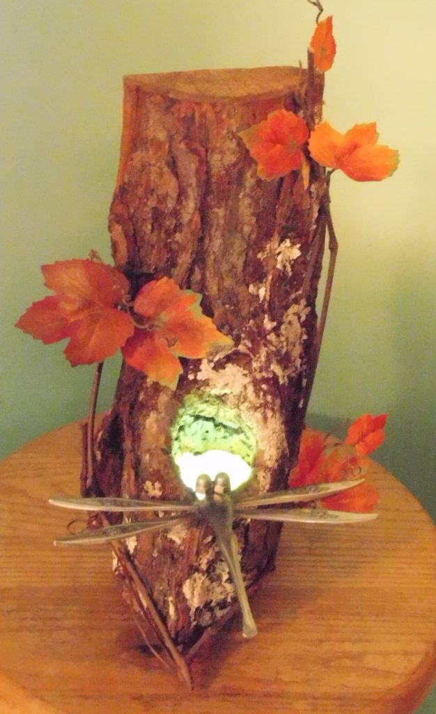 """This special dragonfly light is a collaborative effort by the """"Birds of a Feather Group""""."""