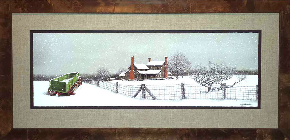 """Bob Timberlake """"First Snow"""" Framed Print (Actual Frame not shown in pic) Print Donated by Bob Timberlake Gallery. Framing donated by Trotman's Picture Framing and Gallery."""